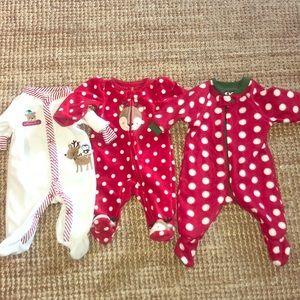 Other - 0-3m NB boys Girls footed Christmas fleece pajamas